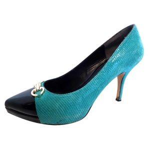 White House Black Market Leather Teal/Black Heels